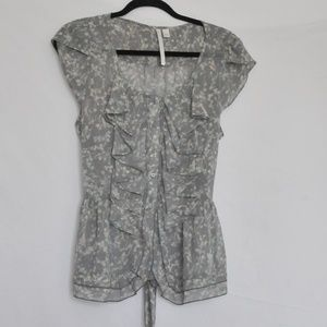 Lauren Conrad waterfall ruffle sheer blouse large